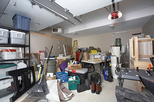 A garage full of stuff to be packed